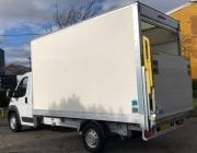 White box van with hydraulic lift