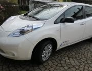White car Nissan Leaf EV